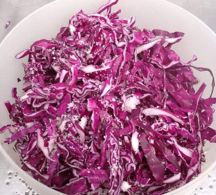 Easy Pickled Red Cabbage Recipe| Sarah James | https://www.talesfromthekitchenshed.com