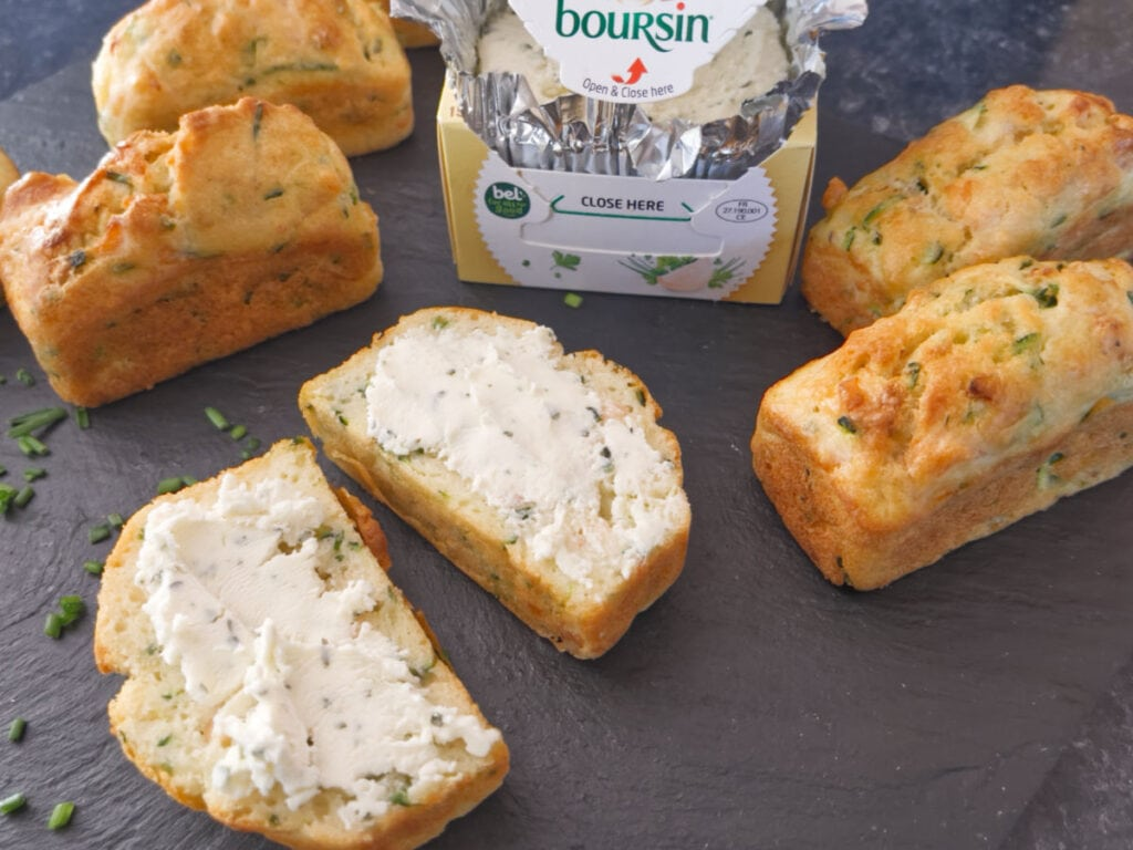 Savoury Courgette & Smoked Salmon Mini Loaves served with Boursin.