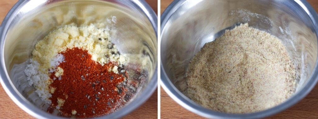 Two bowls of coating ingredients.
