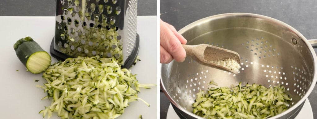 Grated courgette and a colander with grated courgette and salt.