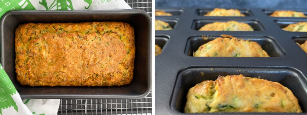 Baked Savoury Courgette and Smoked Salmon bread in tins.