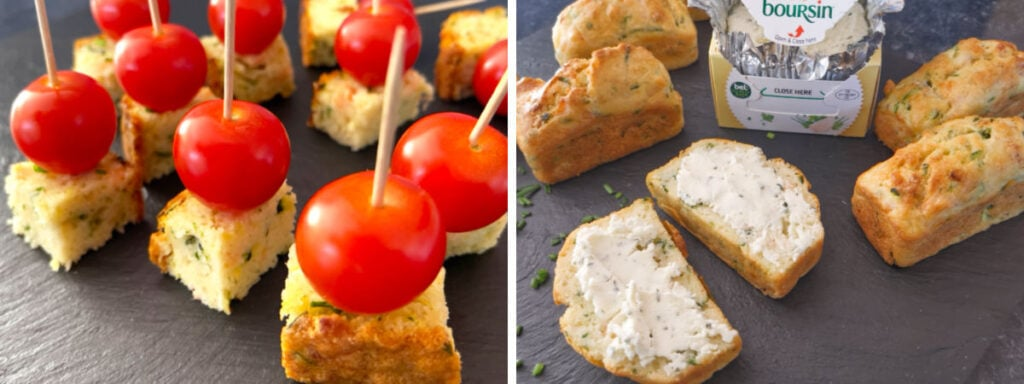 Courgette Bread served as an appetiser with Boursin and cherry tomatoes.