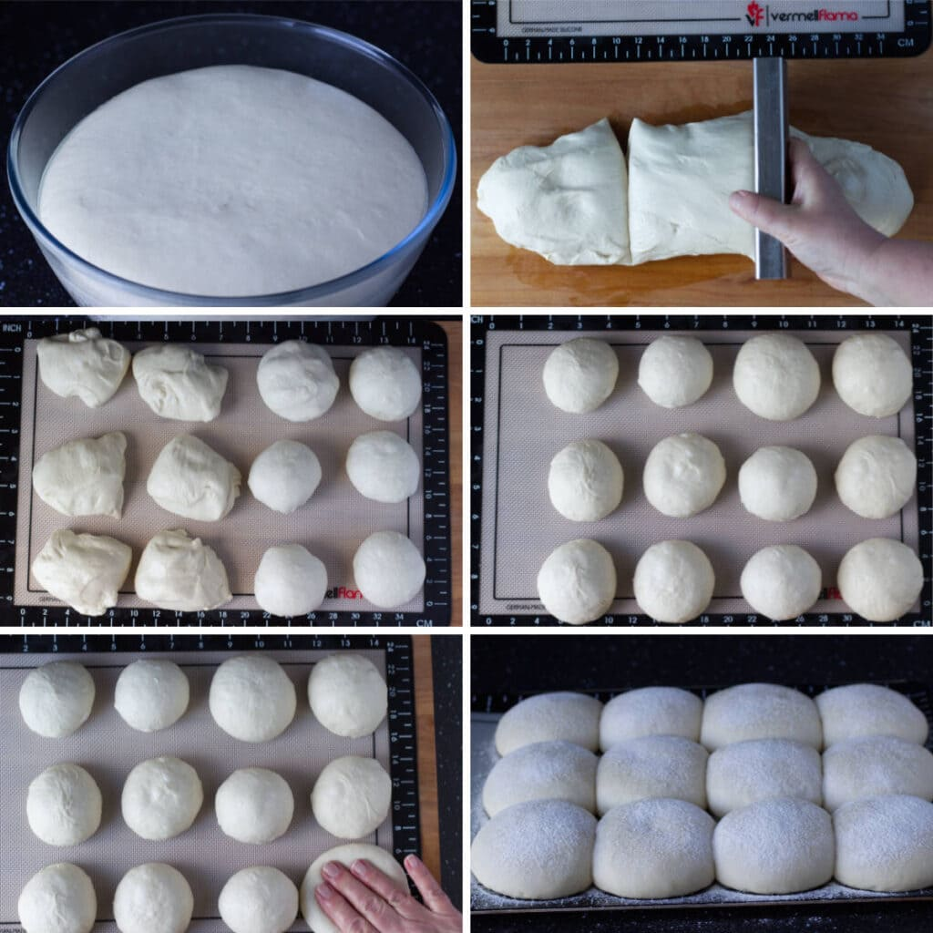 Set of 6 Images showing how to shape the dough.