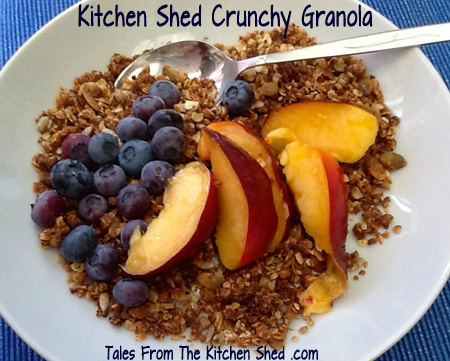 Home made granola is so easy to make & so much healthier, naturally sweetened & no unwanted additives. Makes enough to fill 4 litre jars & will keep for 4 to 6 weeks.