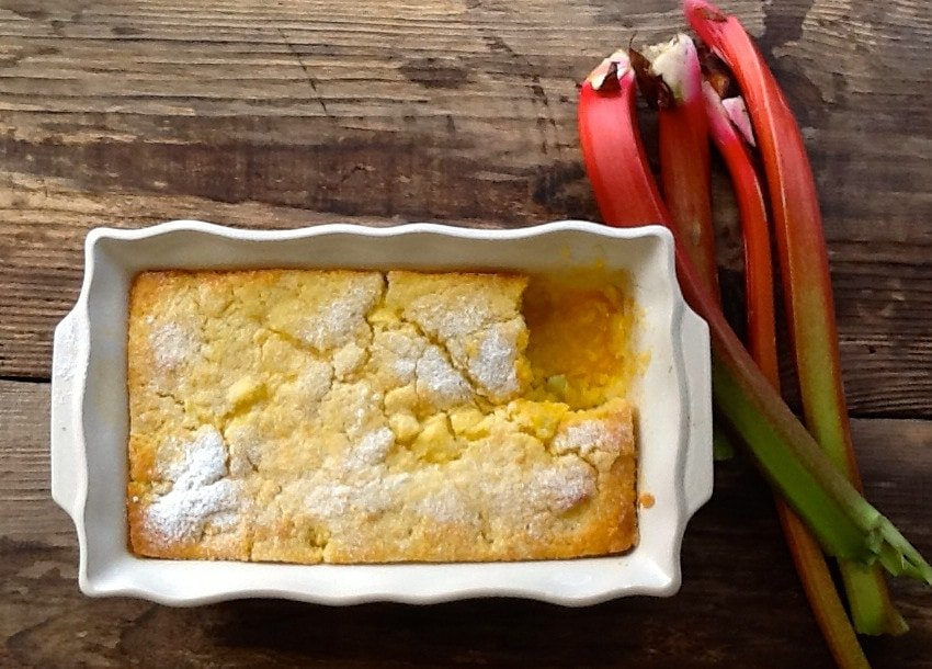 A light airy vanilla sponge blanketing a layer of rhubarb in its own pool of custard, complete with Kitchen Sheds Tips to the perfect self saucing pud!