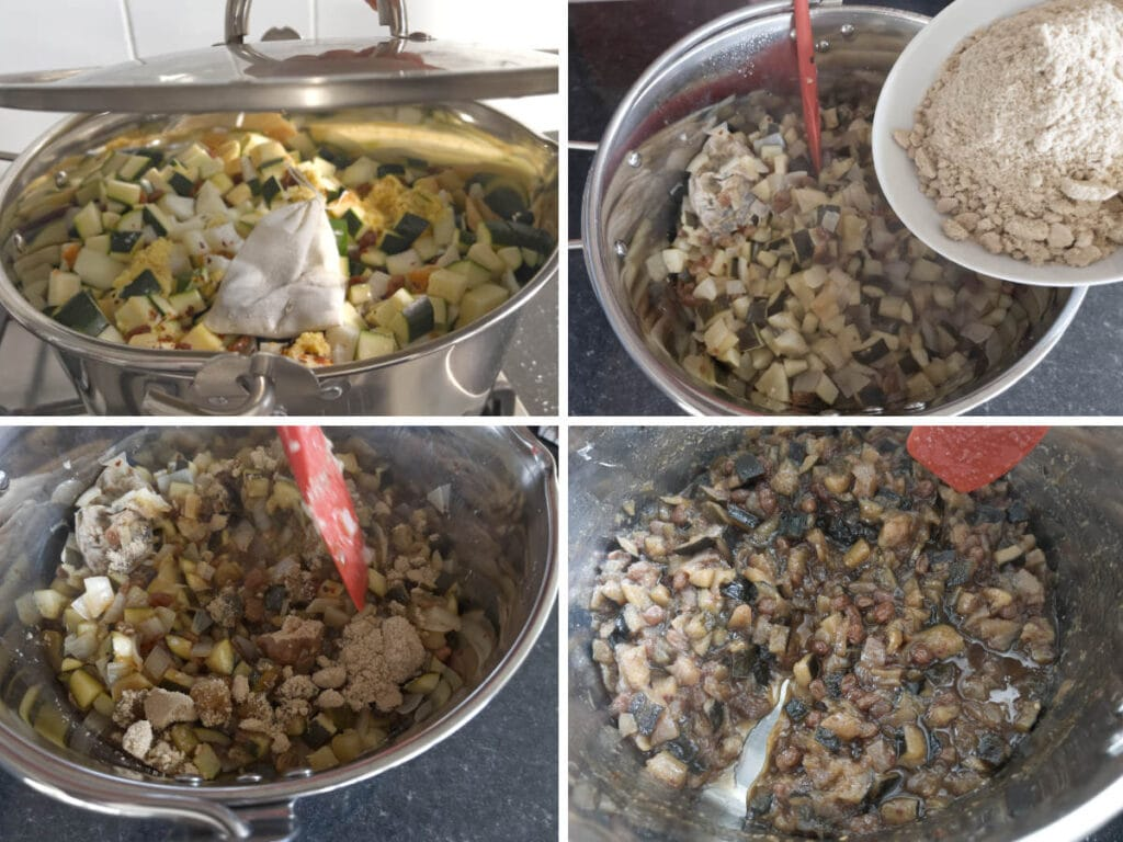 Images to show the process of making chutney on the stovetop.