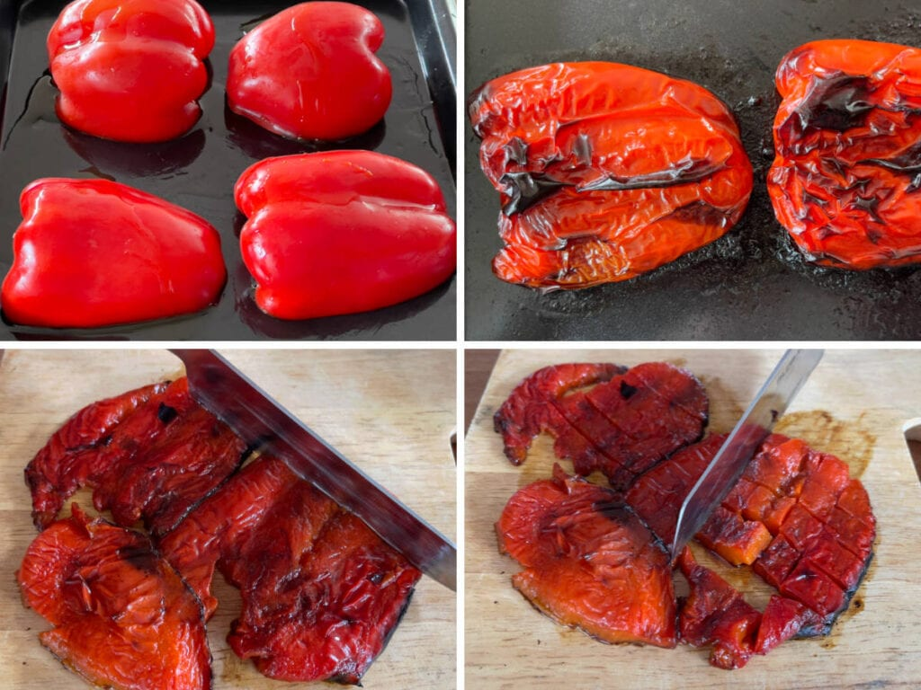 A four step process showing how to roast red peppers.