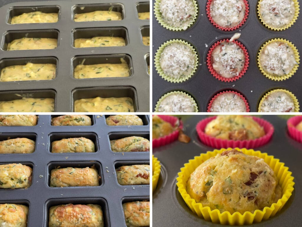A set of four images showing muffin tins filled with batter mix and muffin tins with baked courgette and Feta muffins