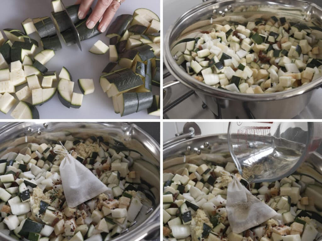 Images to show the process of preparing the courgette and adding to the preserving pan.