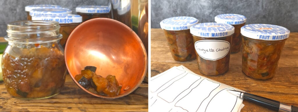 Images to show the process of jarring the chutney and adding a label.