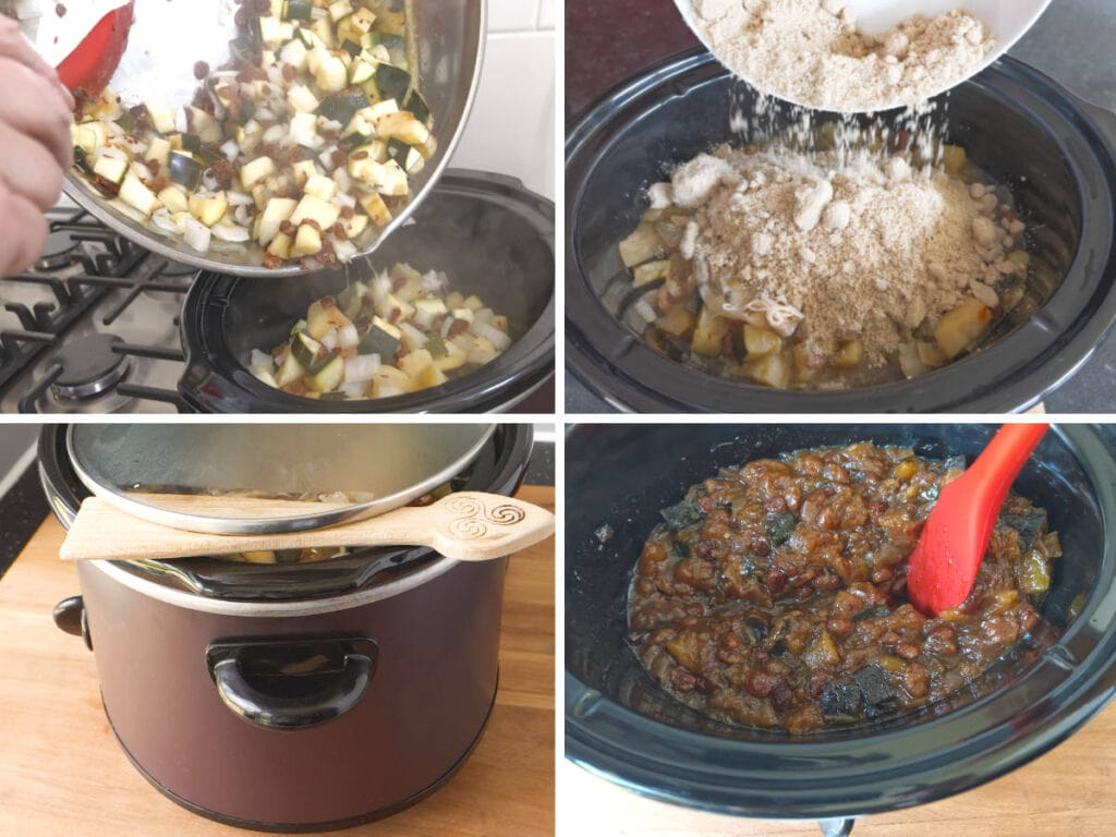 Images to show the process of making Slow Cooker Courgette Chutney.