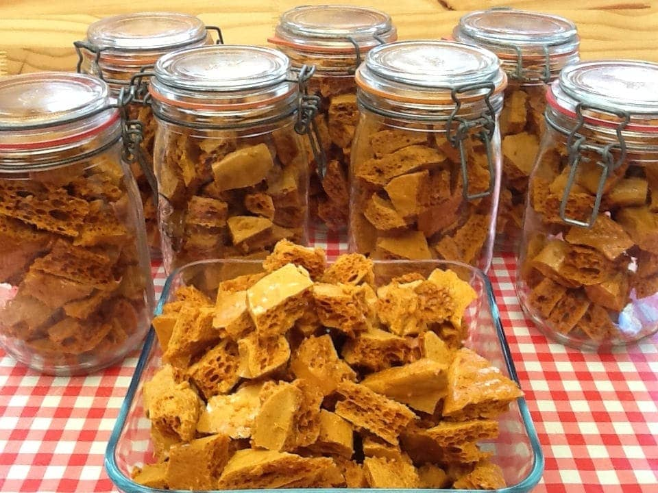 Jars and a dish of freshly made cinder toffee.