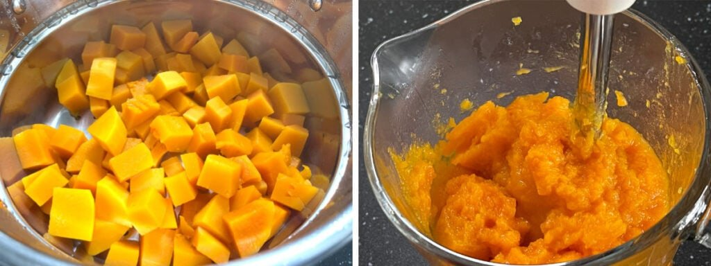 Steamed pumpkin and pureeing in a jug.