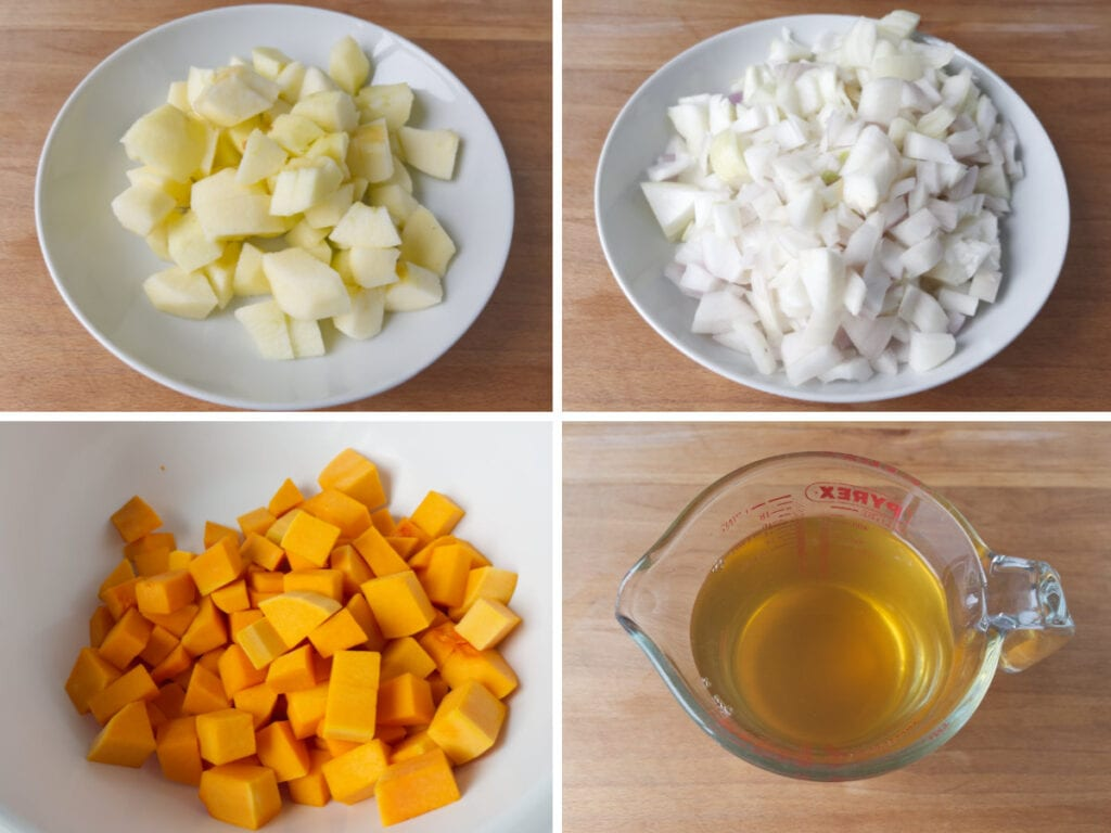Dishes of chopped apple, squash and onion with a jug of cider vinegar.