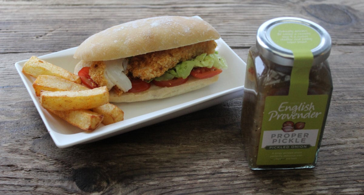 Proper Fish Finger Sandwich. A comfort food classic, nothing beats a fish finger sandwich. This one comes with a twist - Pickled Onion Pickle from Provender - delicious!