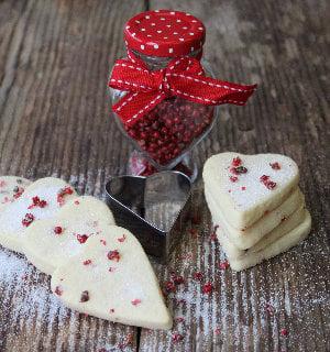 Pink Peppercorn Shortbread Hearts