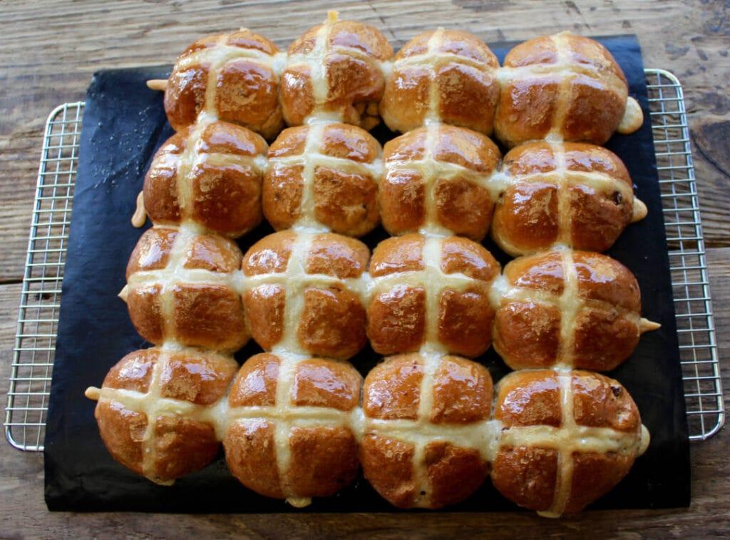 Healthy Hot Cross Buns freshly glazed with honey.