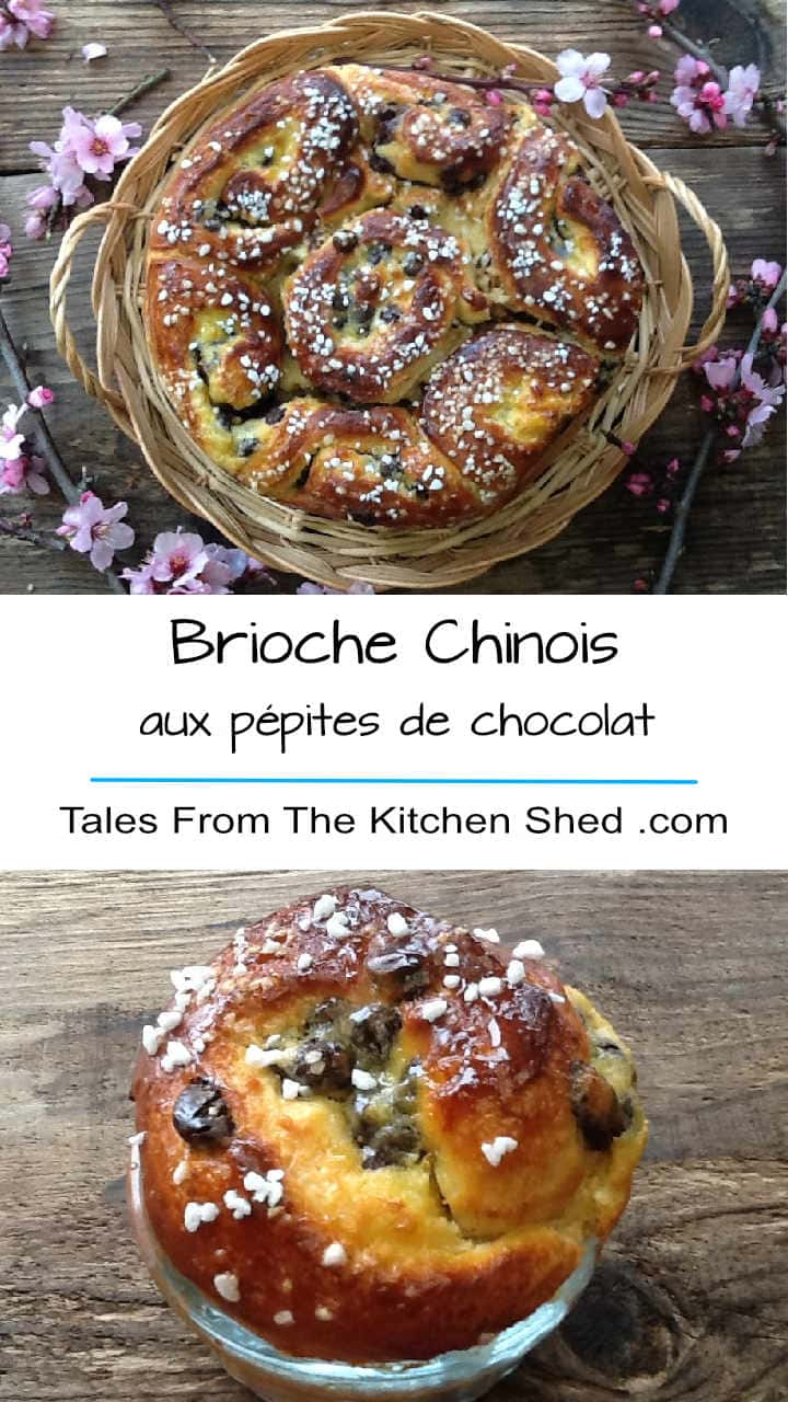 Brioche Chinois aux pépites de chocolat - a decadently buttery brioche filled with chocolate chips and creme patissiere.