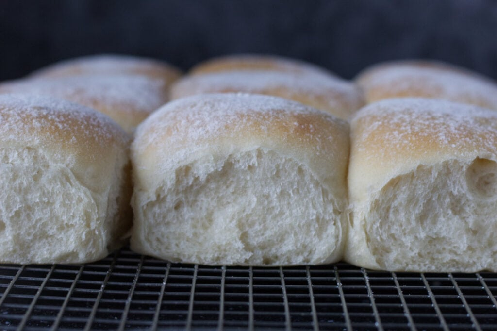Close up image of the sides of the rolls to show how soft they are.