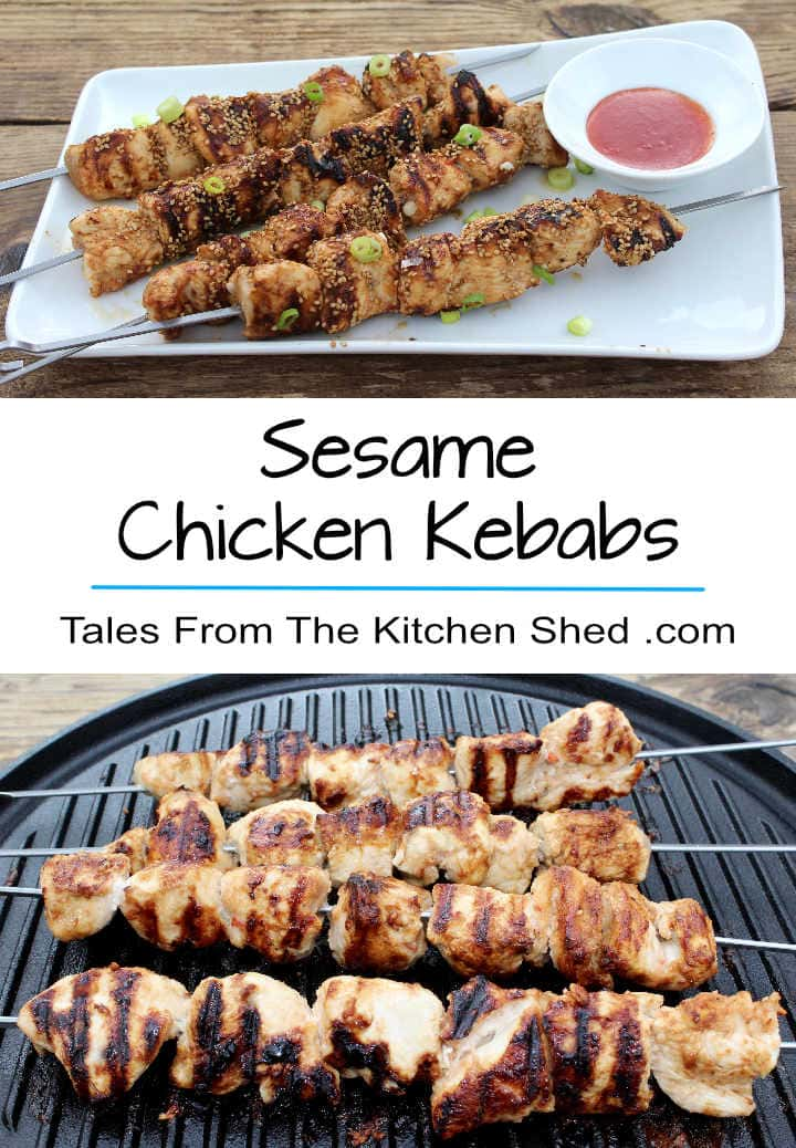 Sesame Chicken Kebabs Succulent chunks of chicken coated with a sticky, sweet & spicy glaze & crunchy sesame seeds. Easy, quick & bursting with flavour!