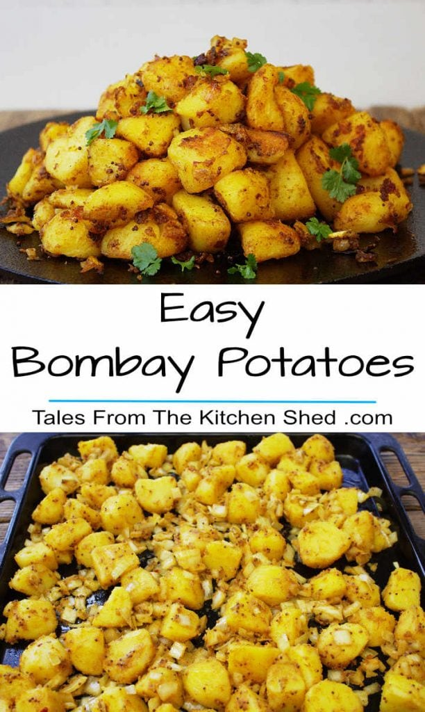 Two images of Bombay Potatoes with title. First image Roasted Potato chunks with spices on a skillet. Second image on a roasting tin