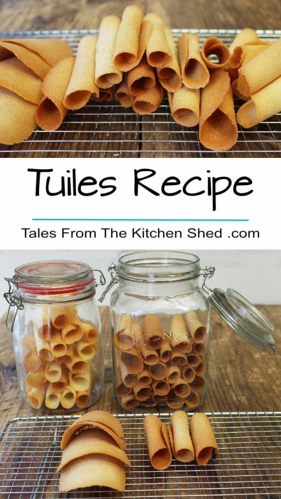 Pin image with Tuiles Recipe title inbetween two images of wafer biscuits.