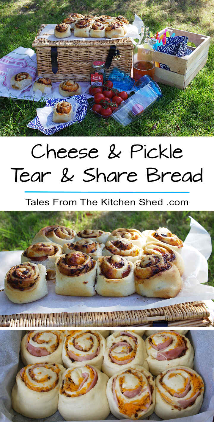 Cheese & Pickle Tear & Share Bread stuffed with cheese, ham & pickle – a delicious ready made sandwich for picnics & packed lunches!