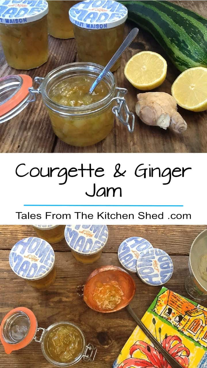 Courgette & Ginger Jam is delicious & a great way to use up overgrown courgettes / zucchini. Perfect on toast & makes a great alternative to mango chutney!
