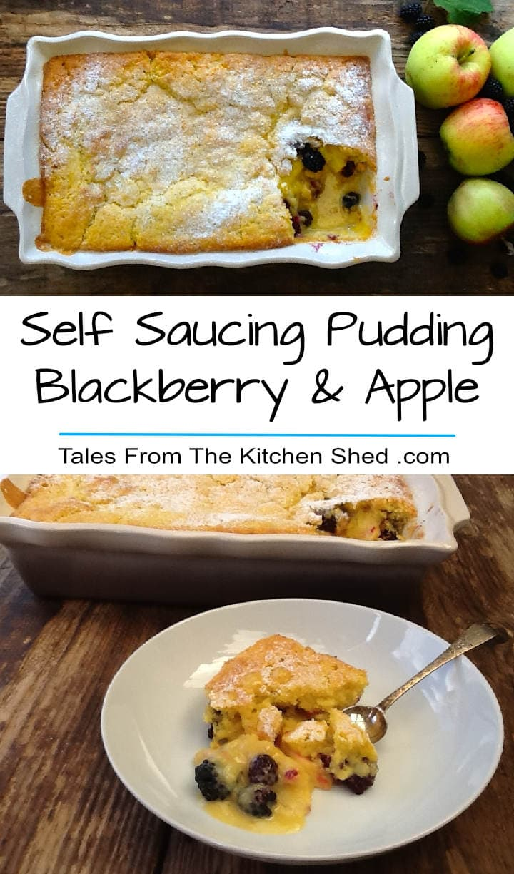 Self Saucing Blackberry & Apple Pudding - A light airy sponge blanketing a layer of blackberries & apples in its own pool of custard, complete with Kitchen Shed Tips to the perfect self saucing pudding!