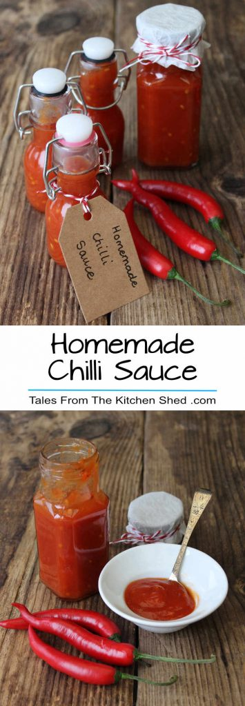 Two images containing a jar and bottles of chilli sauce with fresh chillies on a wooden board.