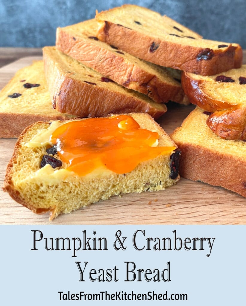 Slices of pumpkin loaf with the title of the recipe written underneath.