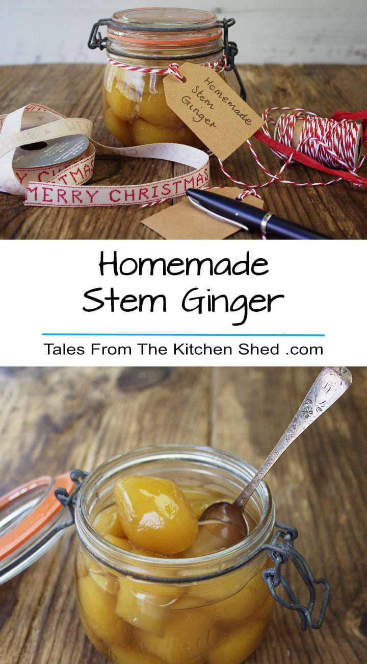 Homemade Stem Ginger is so easy to make & so much better than shop bought. Chop finely & add to ginger cakes, puddings or biscuits for a real ginger hit. The syrup makes a delicious ginger cordial.