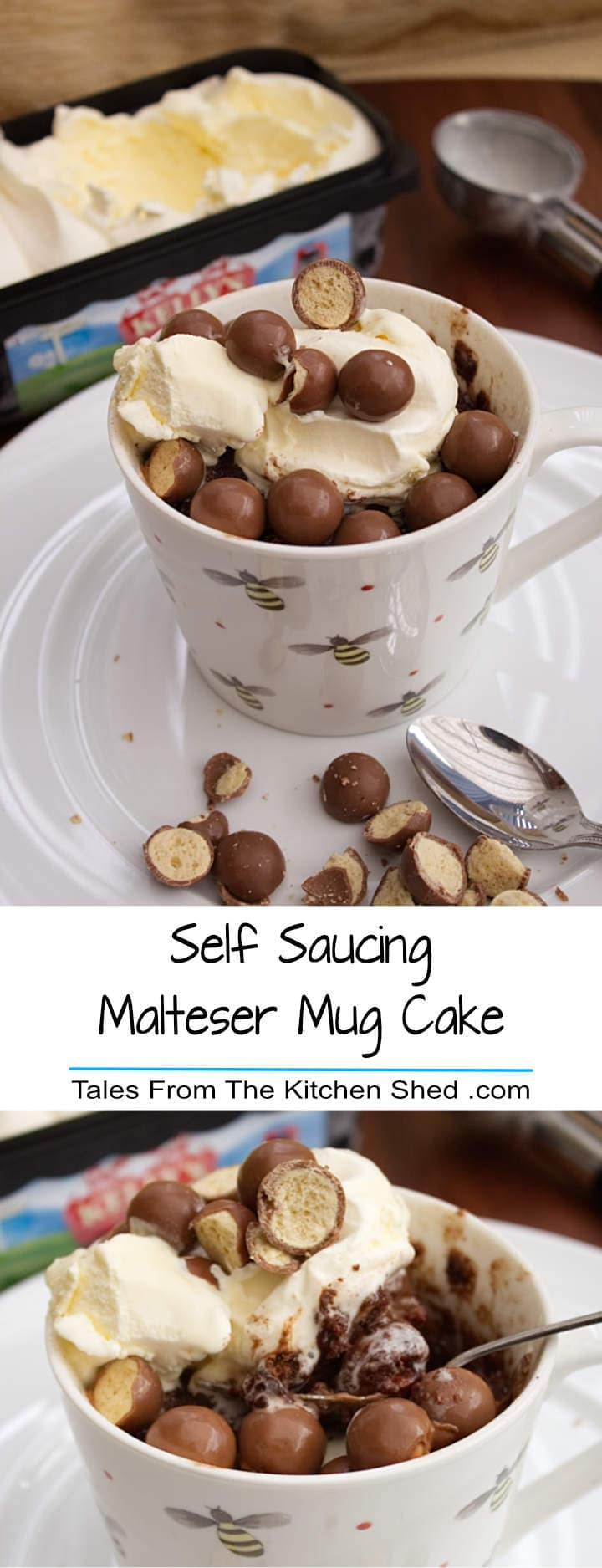 Self Saucing Malteser Mug Cake : A malty chocolate sponge with hidden maltesers & a rich hot chocolate sauce that can satisfy your sweet tooth in just 90 seconds. This is the best individual self saucing pudding recipe EVER.