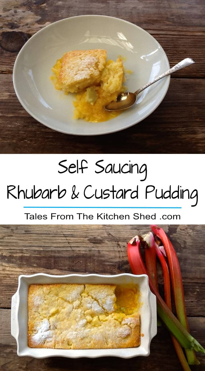 A light airy vanilla sponge blanketing a layer of rhubarb in a pool of custard, complete with tips to the perfect Self Saucing Rhubarb & Custard Pudding!