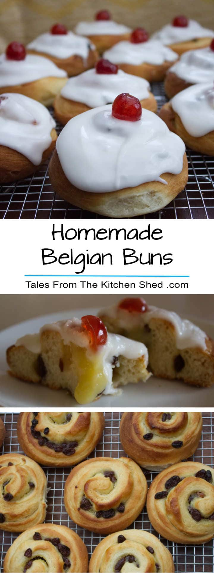 A set of three photo images - starting with a close up of freshly iced Belgian Buns on a cooling rack. Second image is of a split bun revealing the lemon curd filling. Last image is of freshly baked buns cooling on a rack.