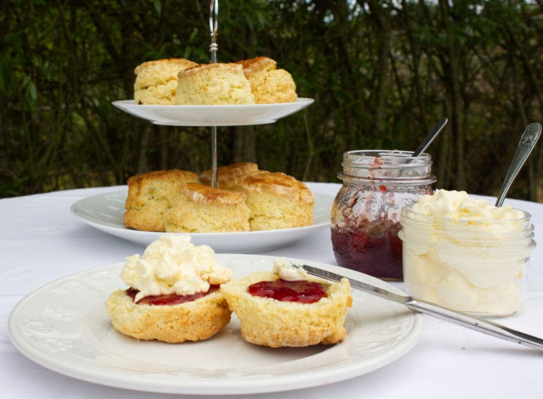 A cream tea set out on a table outdoors - jam, clotted cream and a homemade buttermilk scone cut in half spread with jam and cream.