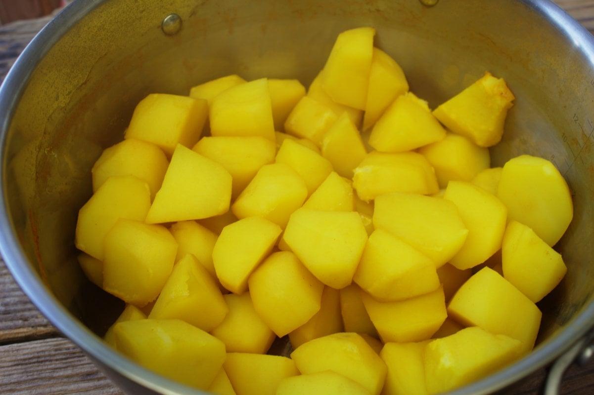 Turmeric potatoes for Easy Bombay Potatoes .