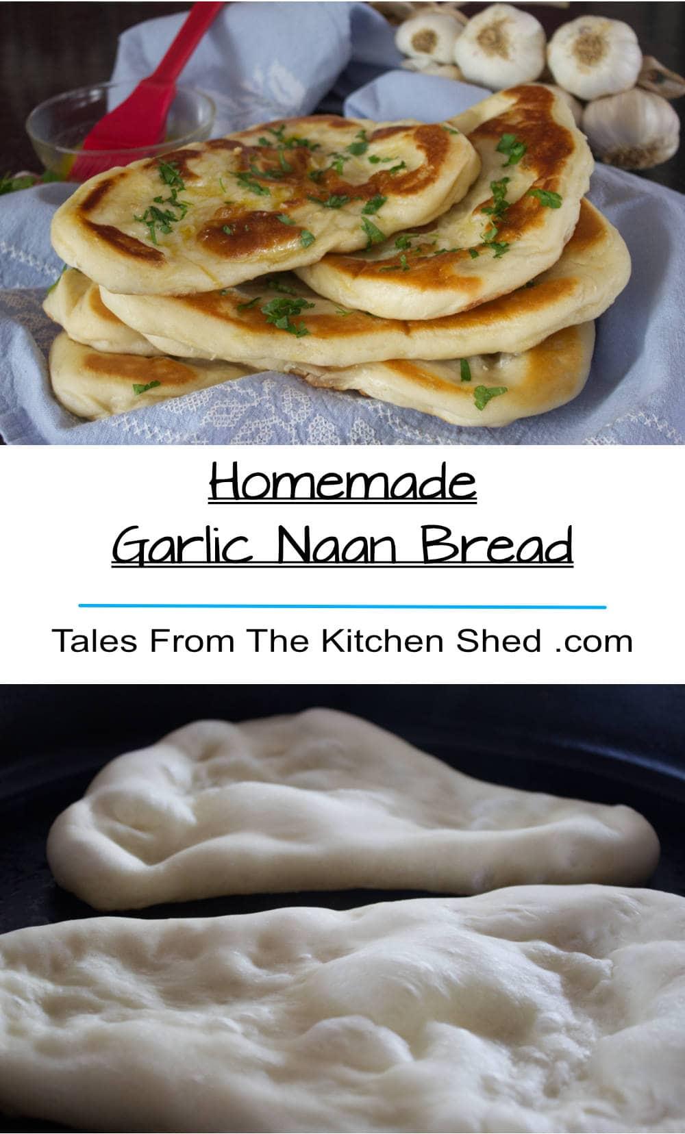 Homemade Garlic Naan Bread oozing with garlic butter on a blue tea towel .
