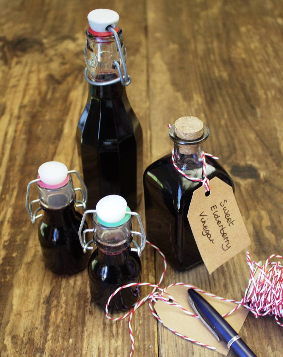 Sweet Elderberry Vinegar is a tasty alternative to Balsamic and makes the most delicious salad dressing. Try drizzling your Elderberry Vinegar over ice cream or add it to sparkling water and ice for a refreshing summer drink.