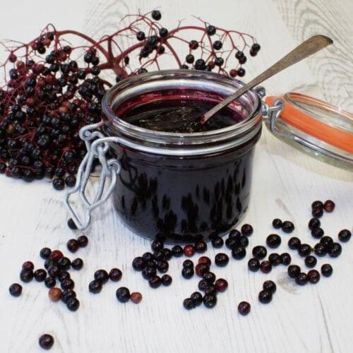 Elderberry & Port Jelly with fresh elderberries.