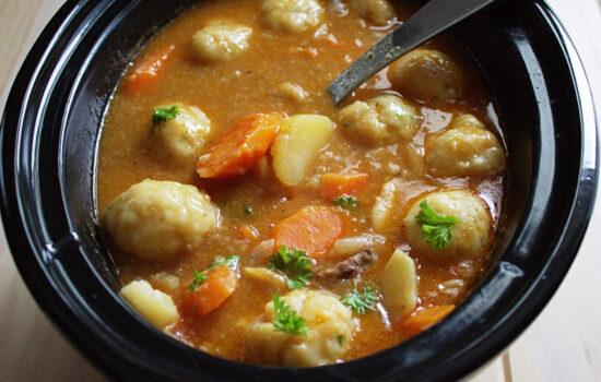 Slow Cooker Beef Stew & Herb Dumplings