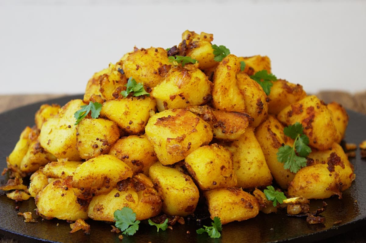 Bombay Potatoes served ready to eat.