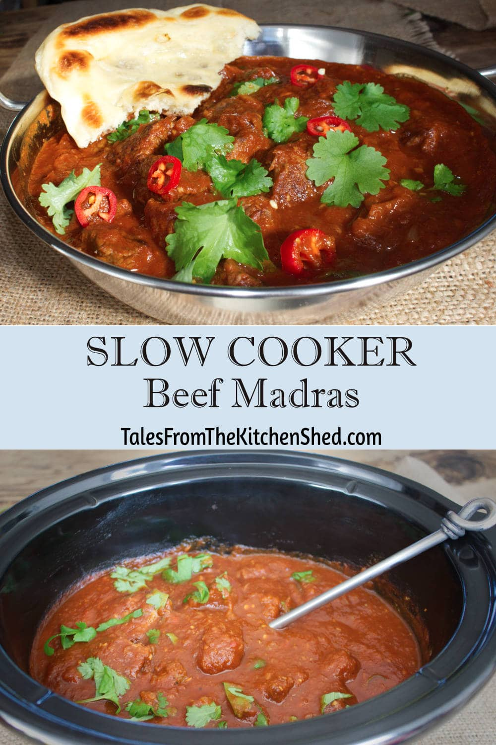 Slow Cooker Beef Madras Curry - chunks of tender beef in a spicy, aromatic Madras sauce. Guaranteed to become your favourite Friday night curry.