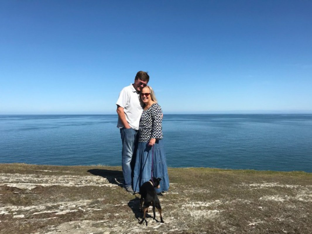 Sarah & OH at Mwnt Bay, Ceredigion