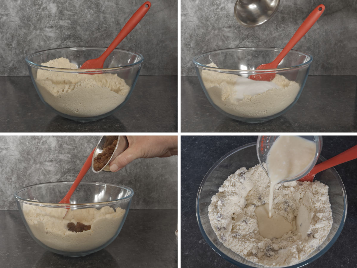 Scone mix in a mixing bowl with a spatula ready for buttermilk and egg to be added