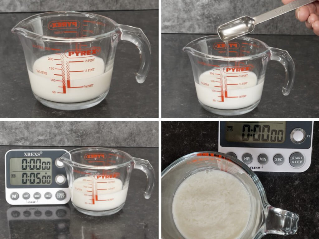 A collage of images showing how to make buttermilk.