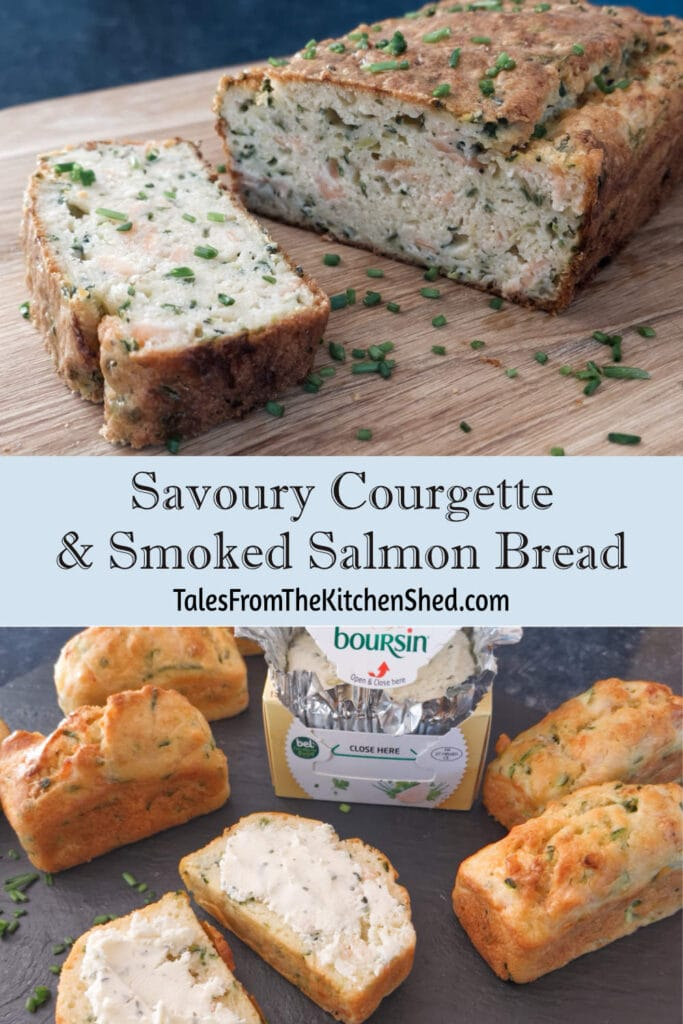 Loaves of Savoury Courgette Bread with some Boursin cheese.