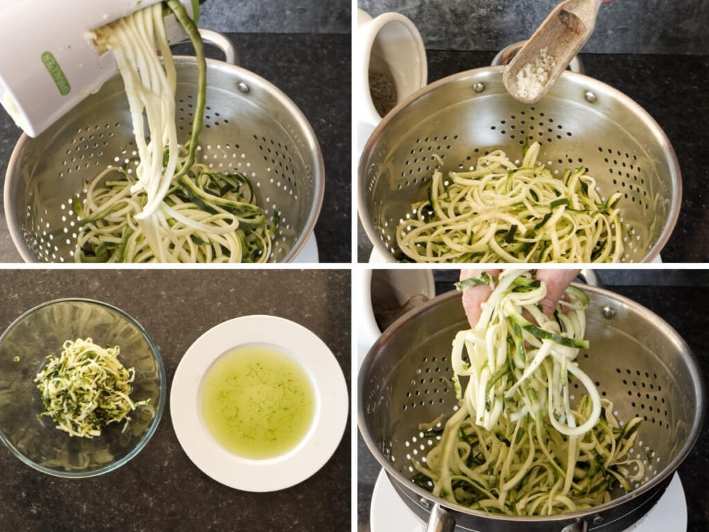 A set of four images showing how to spiralise courgettes and sal them.