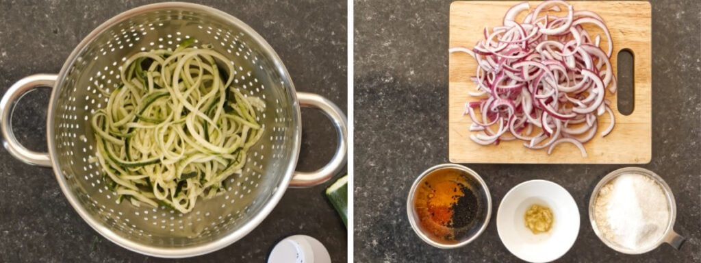 Two images showing spiralised courgettes, onion and spice and flour ingredients.