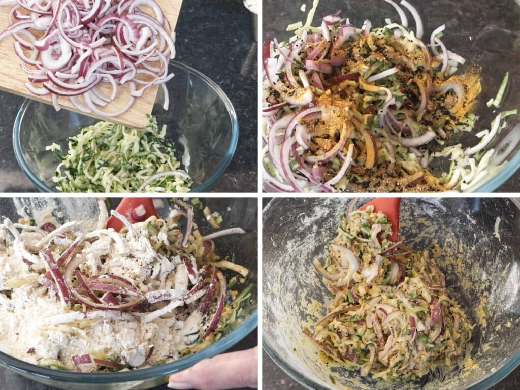 A set of four images to show how to mix the bhaji batter in a bowl.